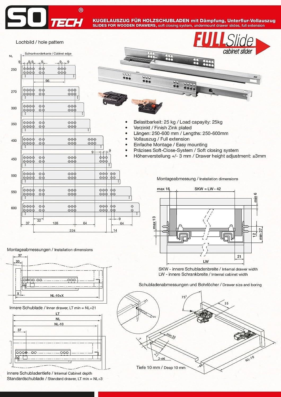 1 Paar SO-TECH/® FullSlide Vollausz/üge Schubladenausz/üge 600 mm f/ür Holzschublade