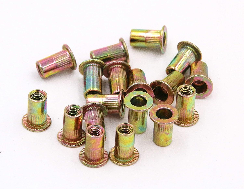 Zinc Plated Carbon Steel Rivet Nut Flat Head Insert Nutsert Pack of 50 1//2-13