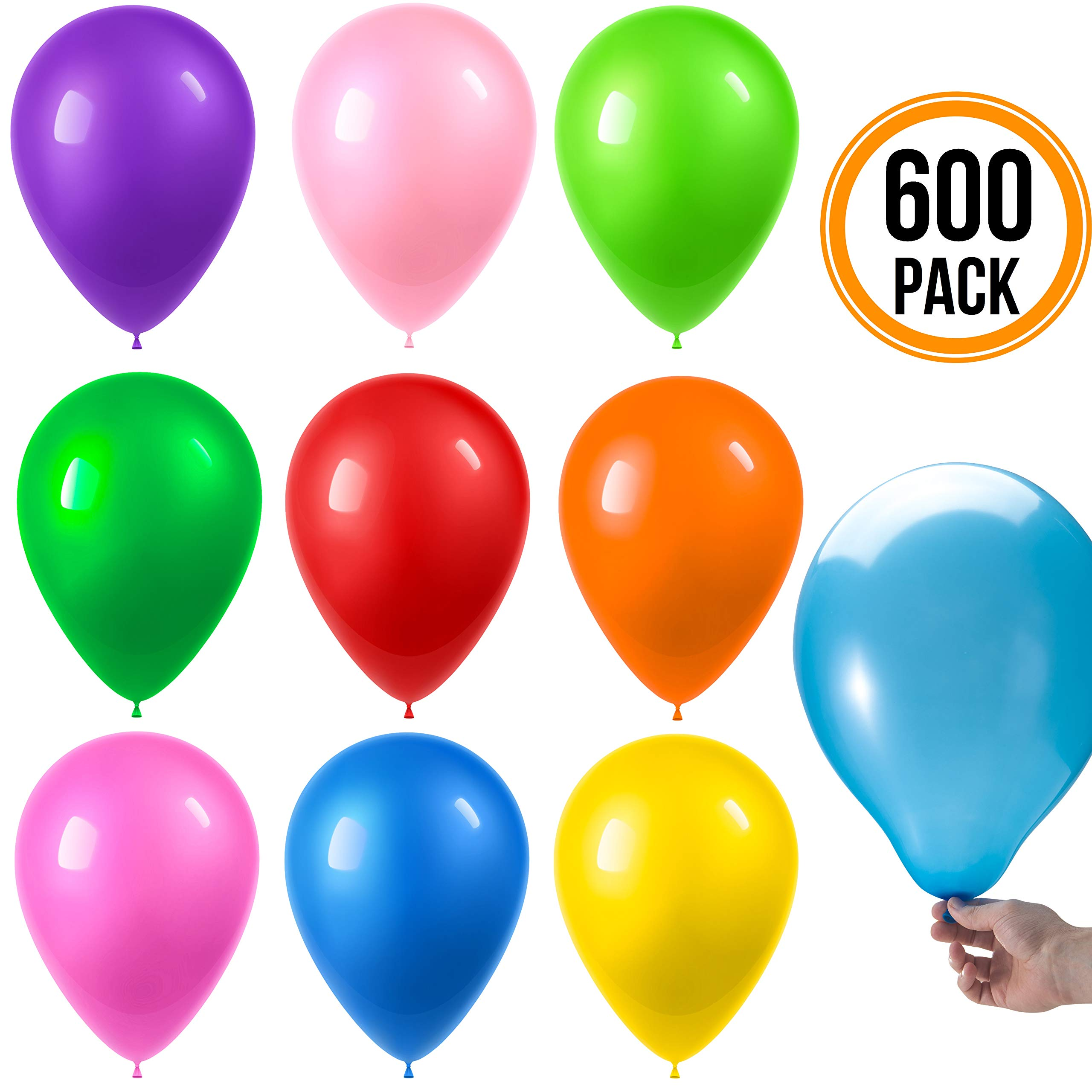Prextex 600 Party Balloons 12 Inch 10 Assorted Rainbow Colors - Bulk Pack of Strong Latex Balloons for Party Decorations, Birthday Parties Supplies or Arch Decor - Helium Quality by Prextex (Image #2)