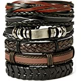 AIODE Mix 6-12 Pcs Leather Bracelet for Men...