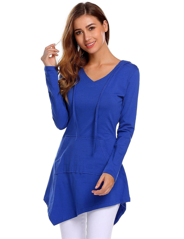 Zeagoo Women's Casual Long Sleeve V-Neck Pockets Sweatshirts Pullover Hoodies