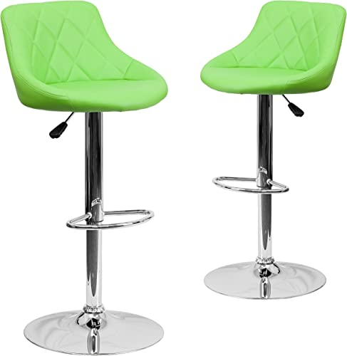 Flash Furniture 2 Pk. Contemporary Green Vinyl Bucket Seat Adjustable Height Barstool with Diamond Pattern Back and Chrome Base