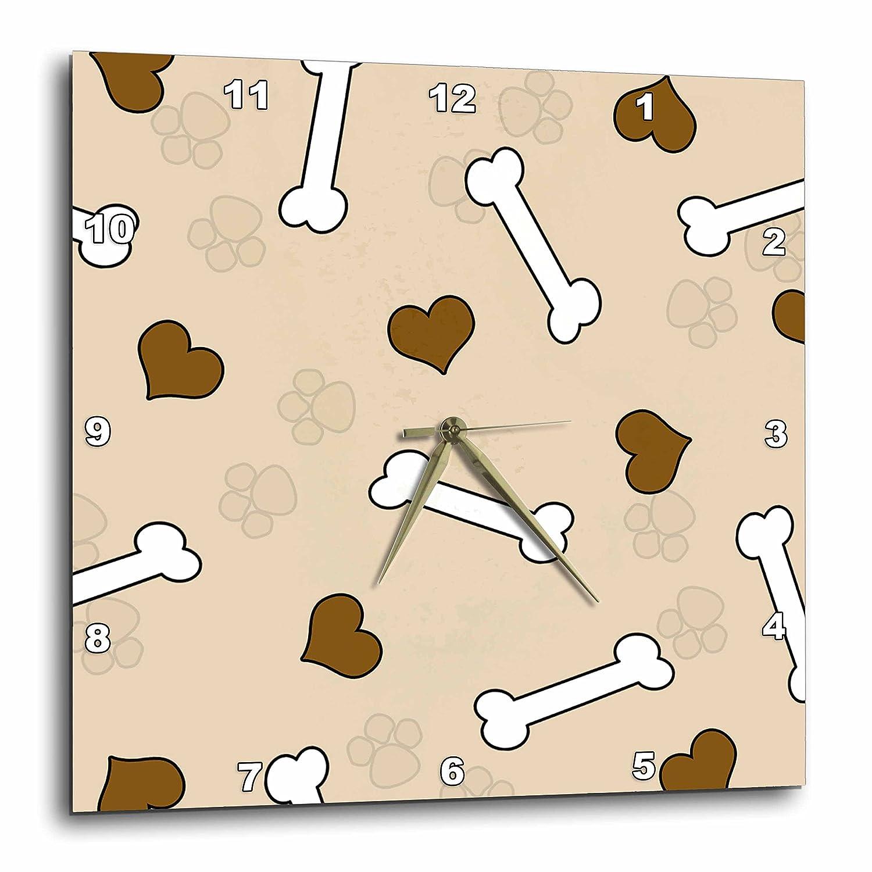 3dRose dpp/_40949/_1 Cute Brown Dog Bone Print Wall Clock 10 by 10-Inch