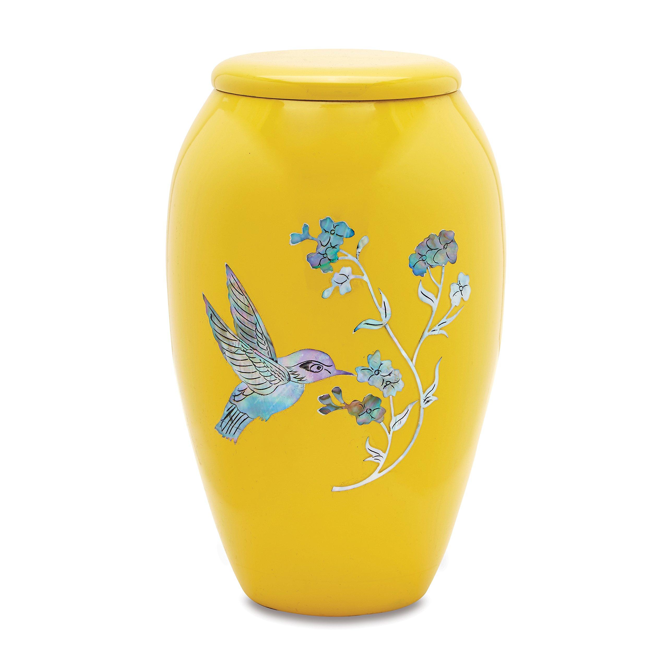 MOP Hummingbird on Yellow Adult Cremation Urn