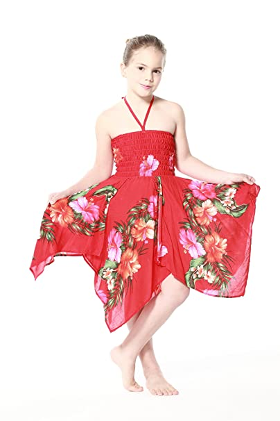 Niña gitano Botón desigual Hawaiian Luau vestido en Rojo 12