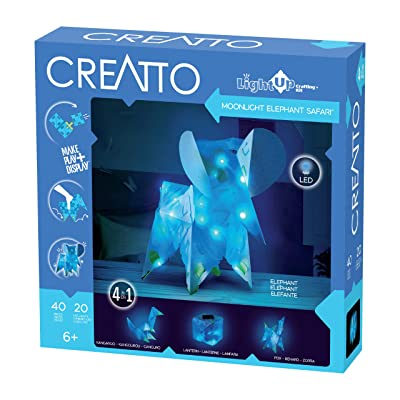 Thames & Kosmos Creatto Moonlight Elephant Safari | Light-Up Crafting Kit from Make Your Own Illuminated 3D Crafts, Décor & Lamp | Elephant, Fox, Kangaroo & Lantern | DIY Activity Kit & LED Lights: Toys & Games