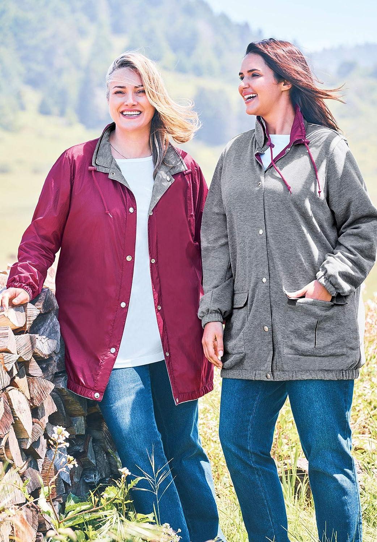 Woman Within Womens Plus Size Fleece Nylon Reversible Rain Jacket