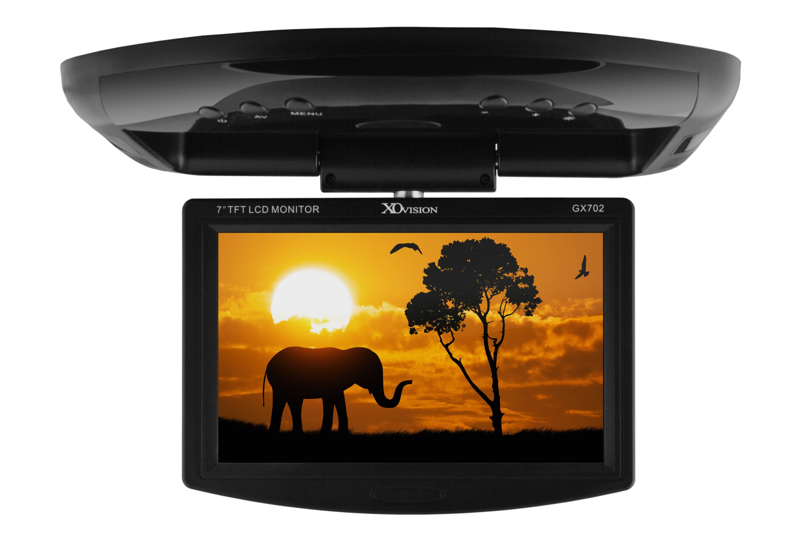 XO Vision 7-inch Widescreen Overhead Monitor with IR Transmitter for in Car Entertainment
