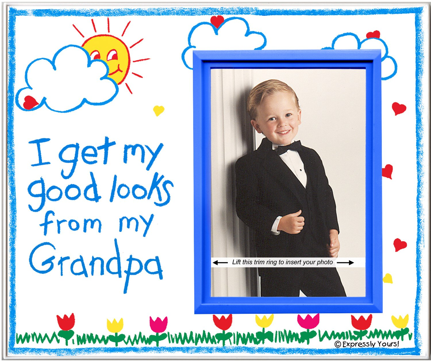 Grandpa Picture Frame | Affordable, Colorful and Fun | Holds 3.5 x 5 Photo | From Boy or Girl | Innovative Front-Loading Design | Crayola Theme Expressly Yours!