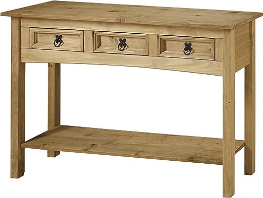 Corona – Mesa consola 3 cajones con 1 estante, madera maciza de ...