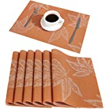DOLOPL Fall Placemats Orange Maple Leaf Autumn Placemats Set of 6 Easy to Clean Heat Resistant Waterproof Non Slip Placemats