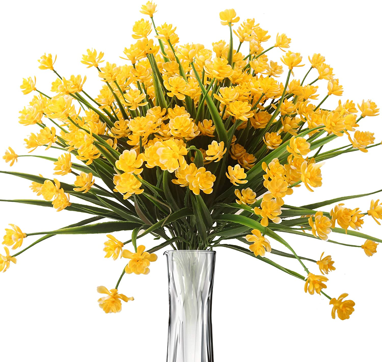 BOMAROLAN Artificial Greenery Daffodils Fake Shrubs Flowers 8 Bundles UV Resistant Hanging Planter Flora Fence Indoor Outside Decor Cemetery Decor(Yellow)