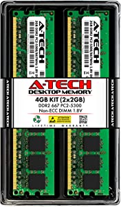 A-Tech 4GB (2x2GB) DDR2 667MHz DIMM PC2-5300 1.8V CL5 240-Pin Non-ECC UDIMM Desktop RAM Memory Upgrade Kit