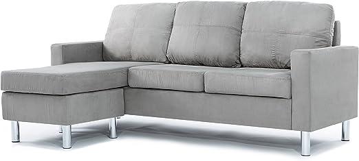 Modern Microfiber Sectional Sofa - Small Space Configurable (Grey)