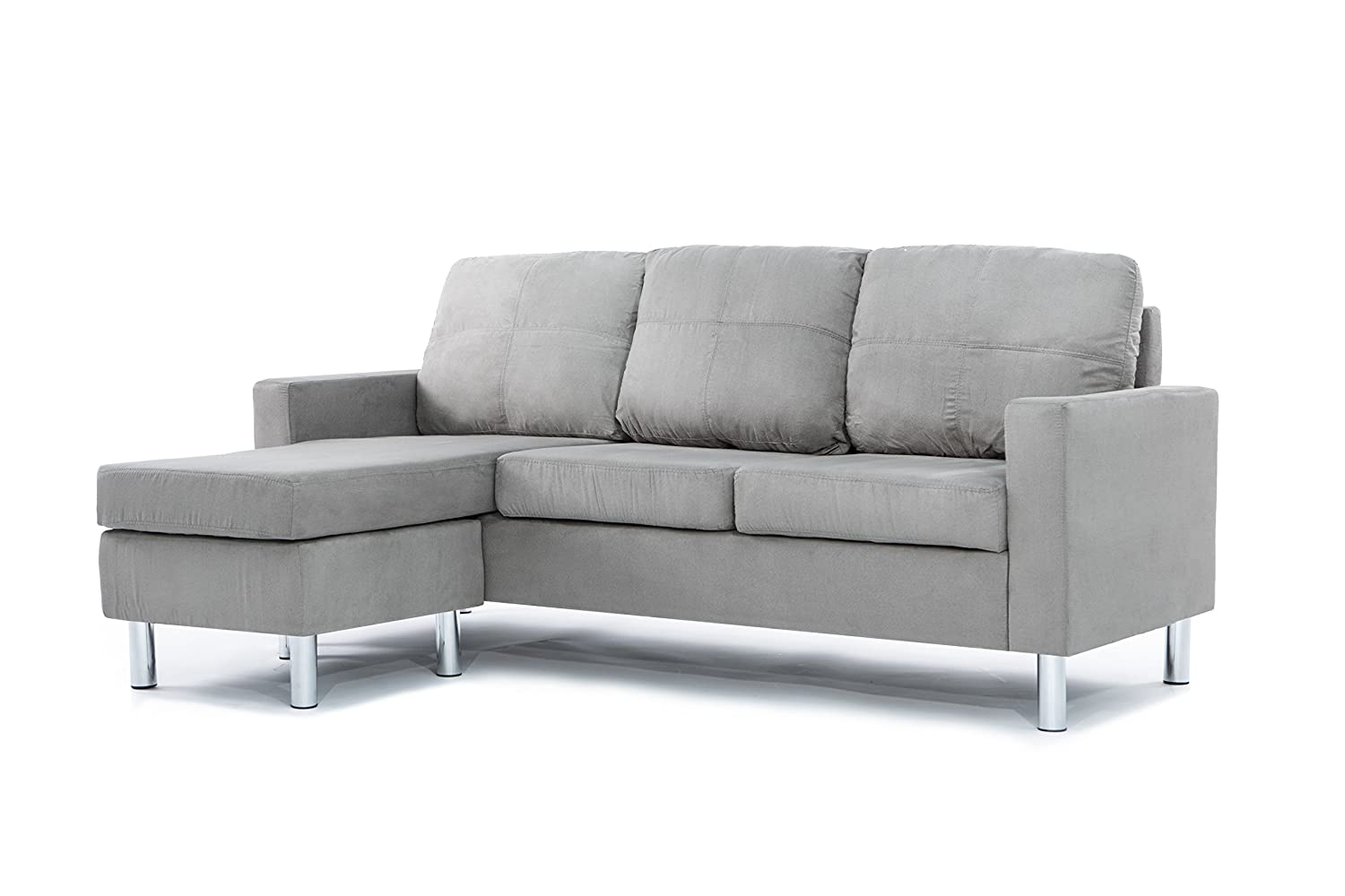 Divano Roma Furniture Modern Soft Brush Microfiber Sectional Sofa - Small Space Configurable Couch (Grey)