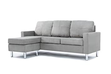 modern microfiber sectional sofa small space grey