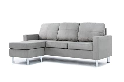Charmant Divano Roma Furniture Modern Microfiber Sectional Sofa   Small Space  Configurable (Grey)