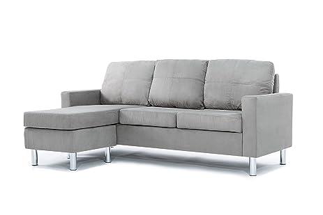 Amazon.Com: Modern Soft Brush Microfiber Sectional Sofa - Small