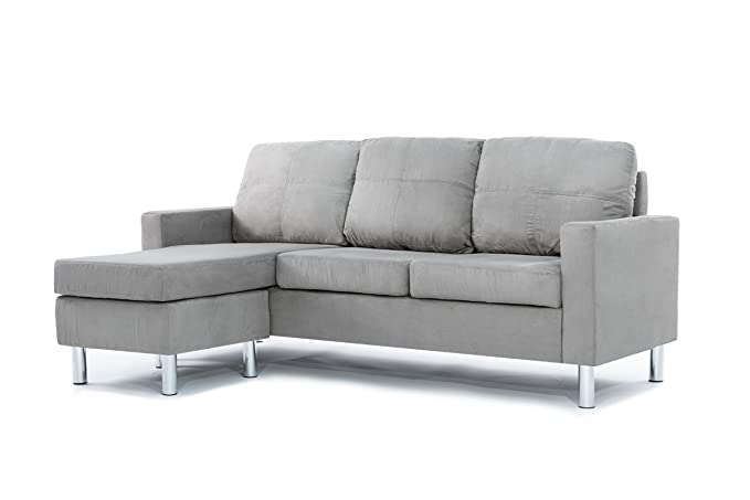 Review Divano Roma Furniture Modern Microfiber Sectional Sofa - Small Space Configurable (Grey)