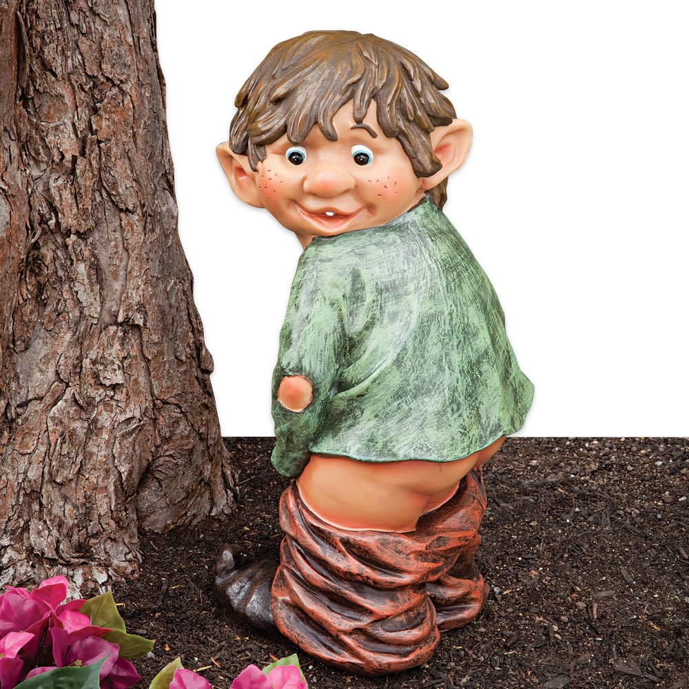 Bits and Pieces - ''Caught with His Pants Down Garden Elf Statue - Naughty Garden Elf Yard Art, Funny Gnome or Elf - Polyresin Statue Measures 13-1/2'' high x 5'' Wide