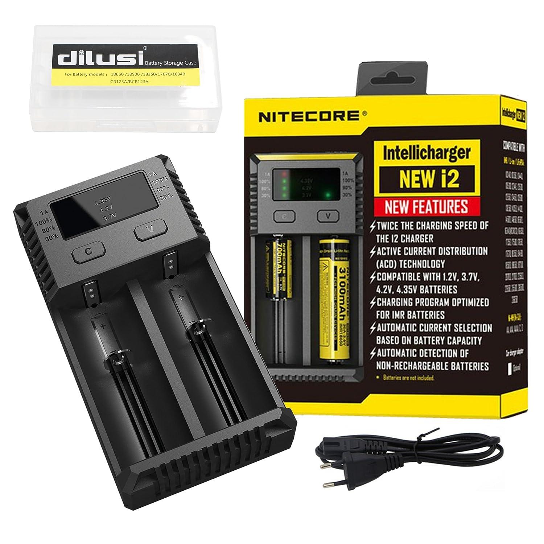 Nitecore Intellicharger i2 Caricabatterie intelligente per batterie agli ioni di litio e NiMH+ DILUSI Cassa di Batteria