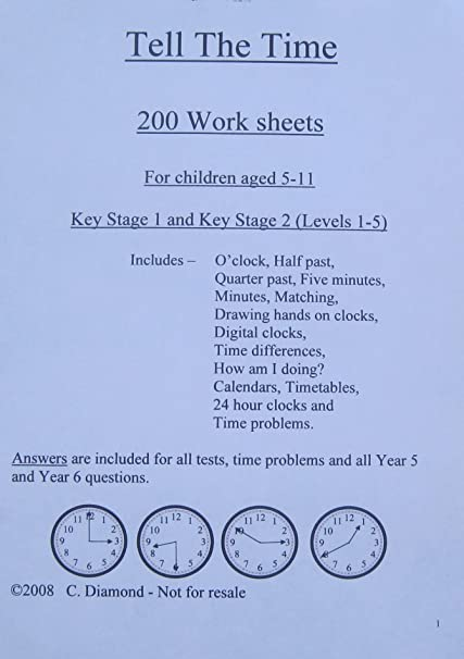 Time Worksheets time worksheets for grade 5 pdf : 200 Time Worksheets KS1 and KS2 - pdf file to print out: Amazon.co ...