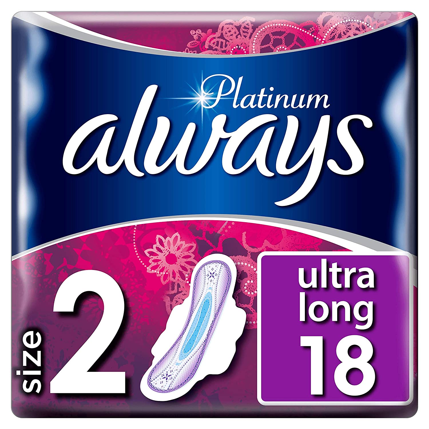 Pack of 2 Always Platinum Long T2 Sanitary Towels with Wings 18