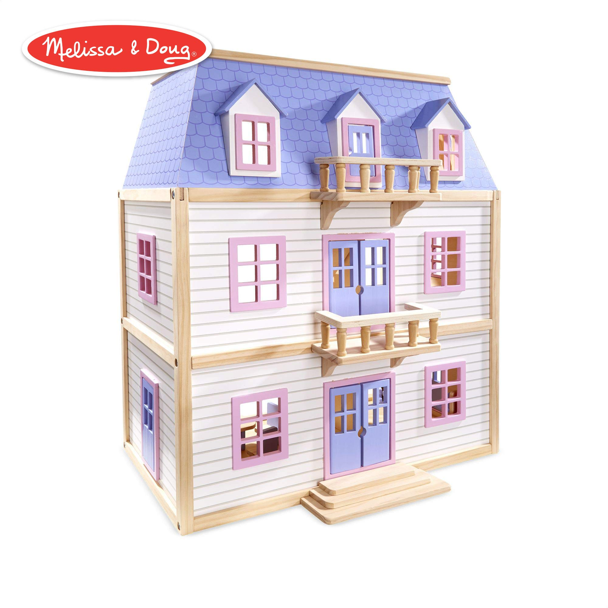 "Melissa & Doug Modern Wooden Multi-Level Dollhouse (Dolls & Dollhouses, 19 Pieces, White, 28"" H x 15.5"" W x 24"" L)"