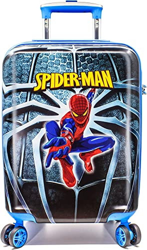 WCK 19 Inch Unisex Carry on Luggage Marvel Spiderman Spinner Hardshell Suitcase TSA Lock Travel Luggage Blue Spiderman
