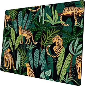 Mouse pad Leopard Mousepad Plants Office Decor for Women Men Desk Accessories Leopards and Tropical Leaves Mouse pad Gift for Coworker Non-Slip Comfortable Customized Computer Mouse Pad