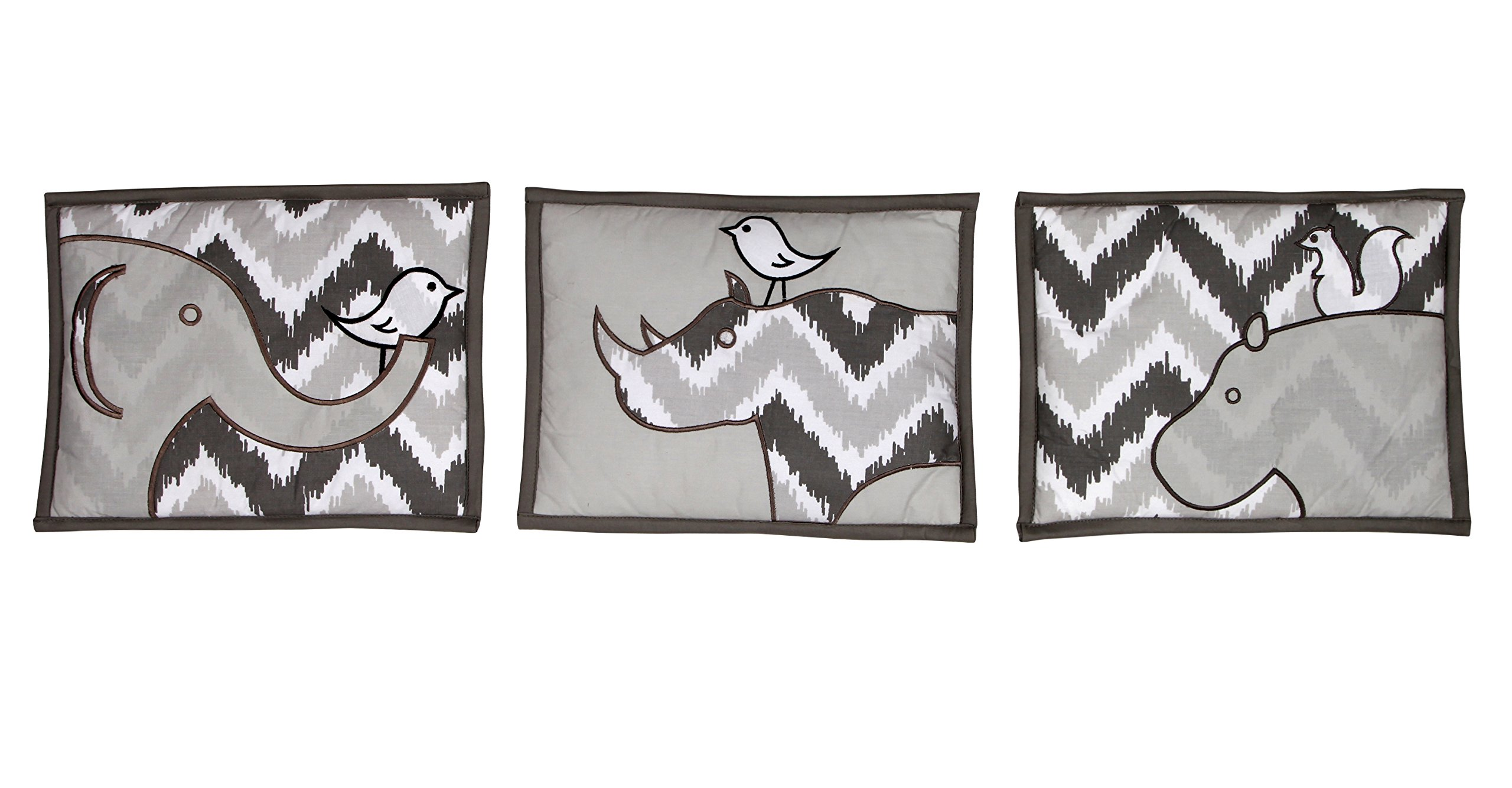 Bacati Ikat Chevron 10 Piece Crib Set with Bumper Pad, Coral/Grey
