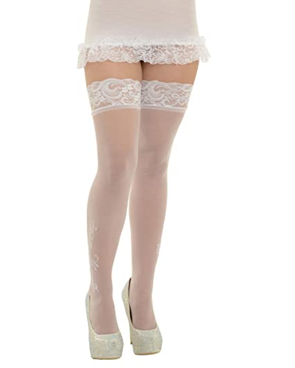 1a912e4fc0d Amazon.com  Womens White Thigh High Stockings Lace Trim Top Rhinestone  Applique Nylons Color  White  Clothing