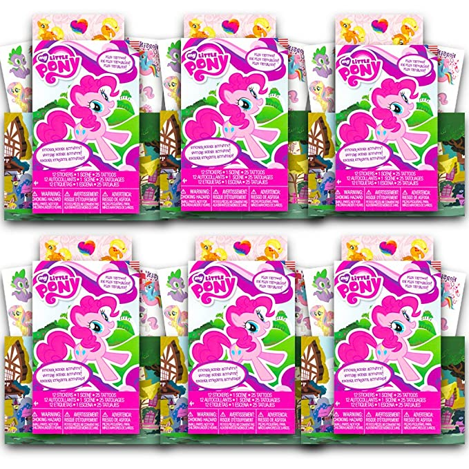 6 Sets with 72 Stickers Scene Activity and 150 Temporary Tattoos MLP Party Supplies My Little Pony Ultimate Party Favors Pack