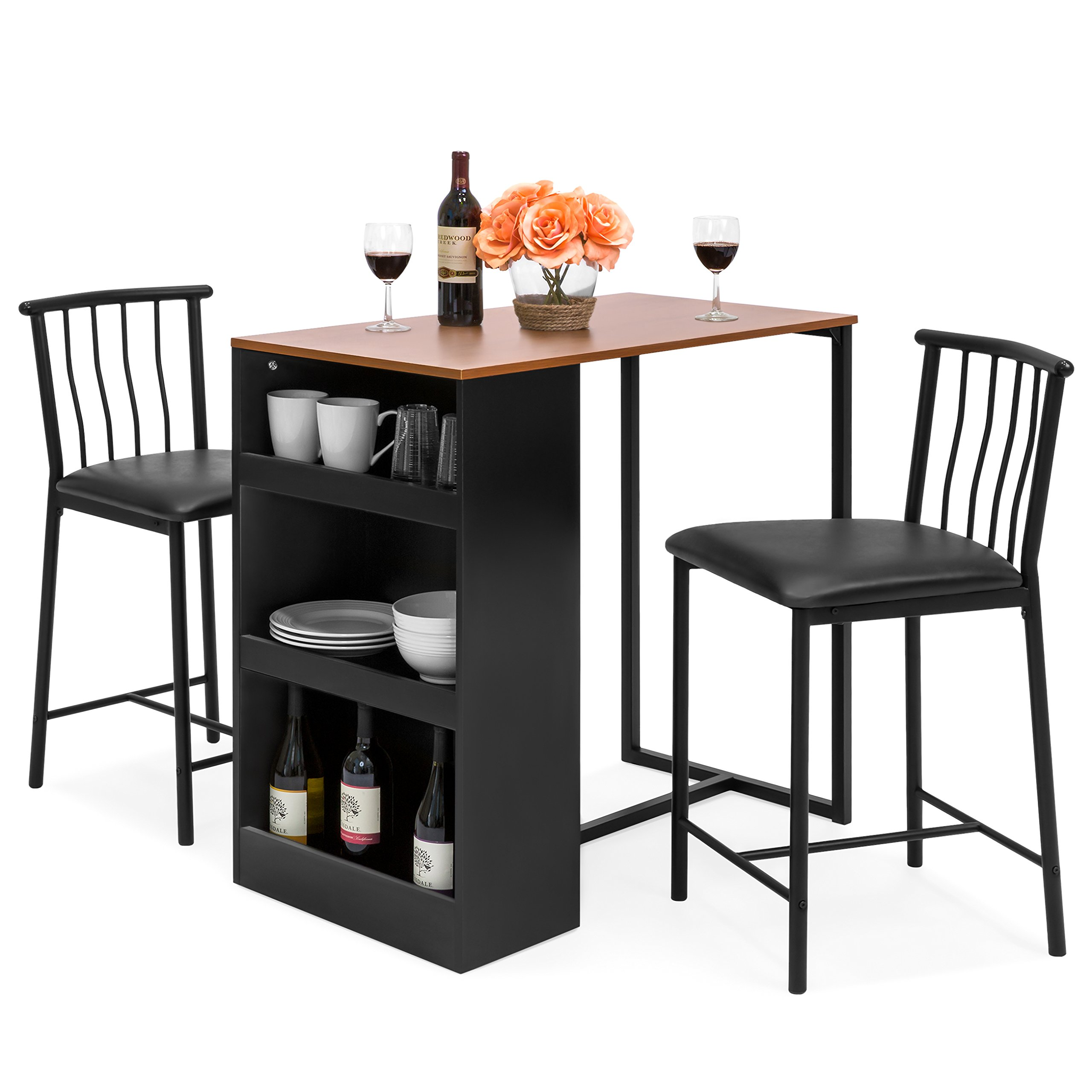 Best Choice Products 36-Inch Wooden Metal Kitchen Counter Height Dining Table Set w/ 2 Stools by Best Choice Products