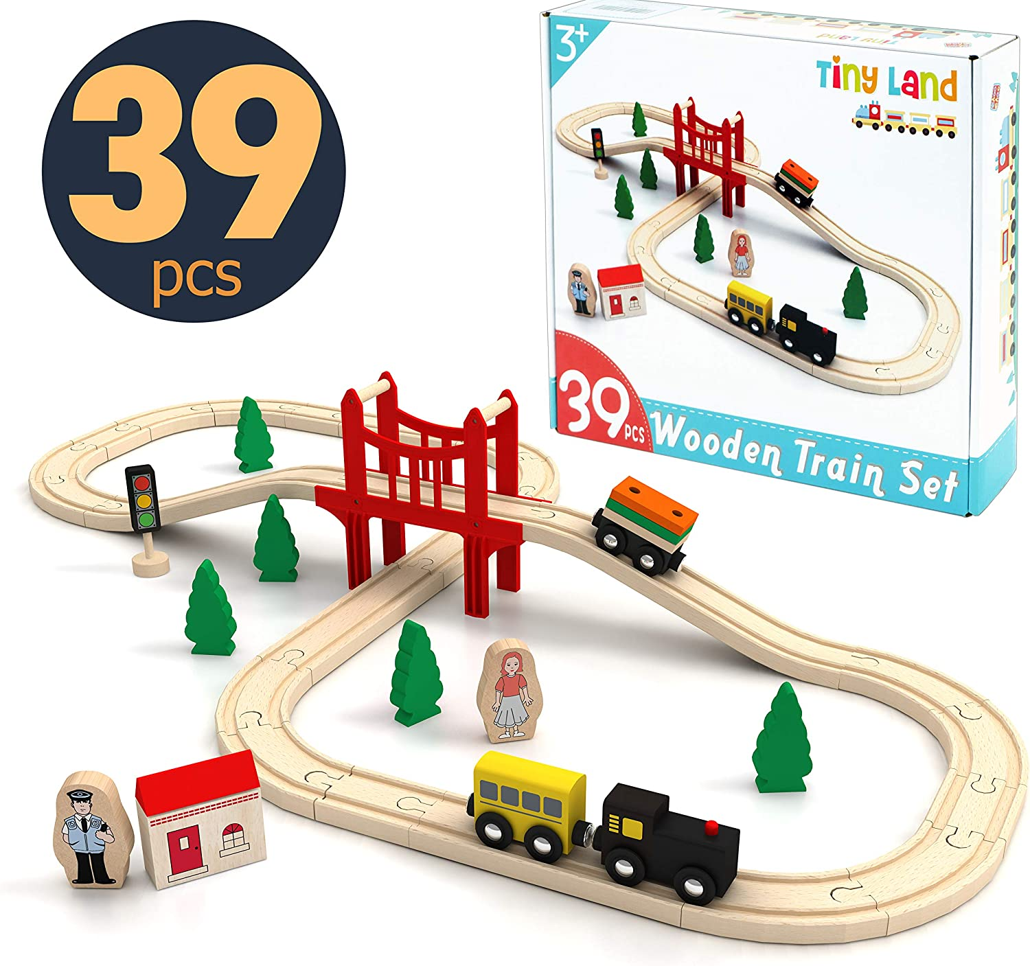 Wooden Train Set Starter 39-Piece Track Pack with Bridge Fits Thomas Brio Chuggington, Engine & Passenger Car, Kids Friendly Building & Construction-Expandable, Changeable-Fun for Girls & Boys