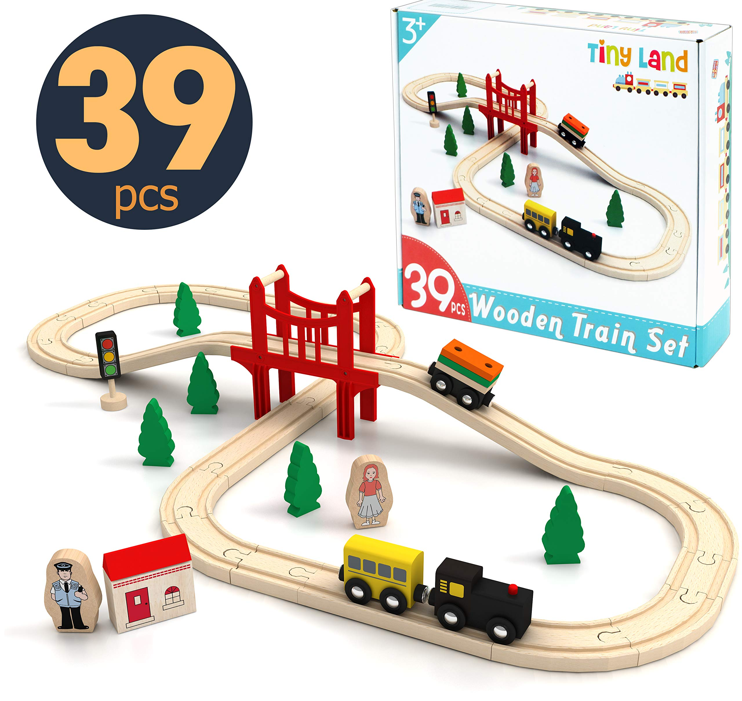 Wooden Train Set Starter 39-Piece Track Pack with Bridge Fits Thomas Brio Chuggington, Engine & Passenger Car, Kids Friendly Building & Construction-Expandable, Changeable-Fun for Girls & Boys by Tiny Land