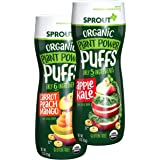 Sprout Organic Baby Food, Stage 2 Snacks, Carrot Mango and Apple Kale Plant Power Baby Puffs Variety Pack, 1.5 Oz Canister (6