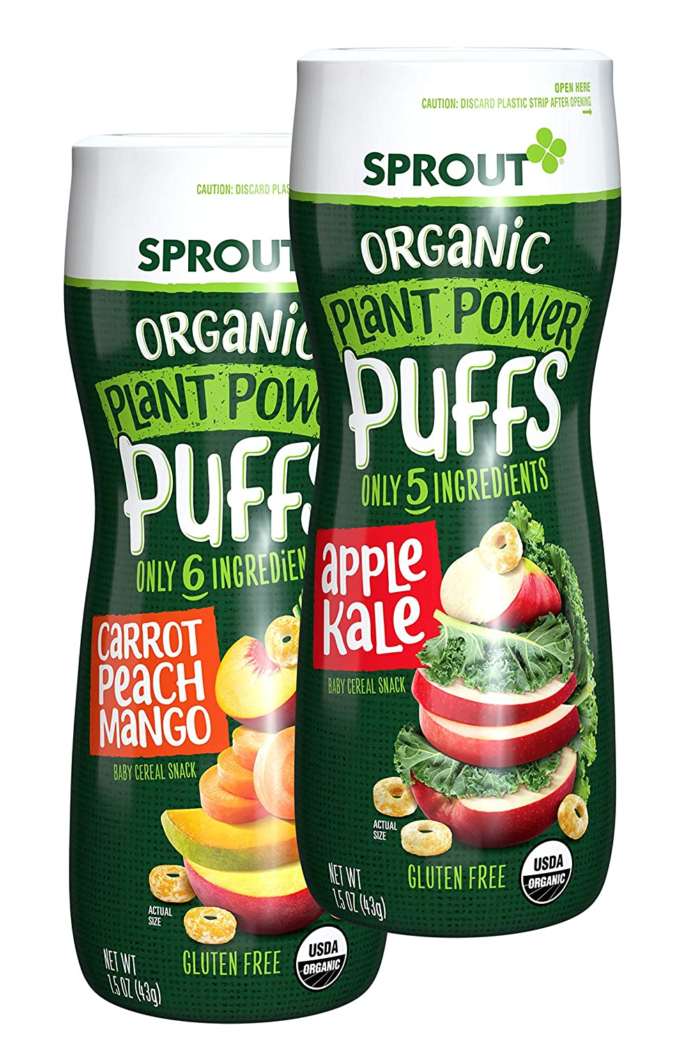 Sprout Organic Plant Power Puffs Baby Snacks, Variety Pack, 1.5 Ounce Canister (Pack of 6) 3 of Each: Carrot Mango & Apple Kale (Packaging May Vary)