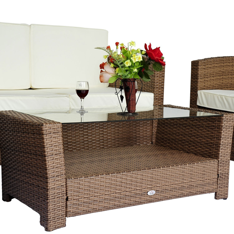 Amazon.de: Outsunny® Poly-Rattan Gartenmöbel Gartenset Lounge ...