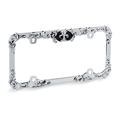 Cruiser Accessories 22835 Fleur De Lis License Plate Frame with Adjustable Emblem (Chrome with Black Accent): Automotive