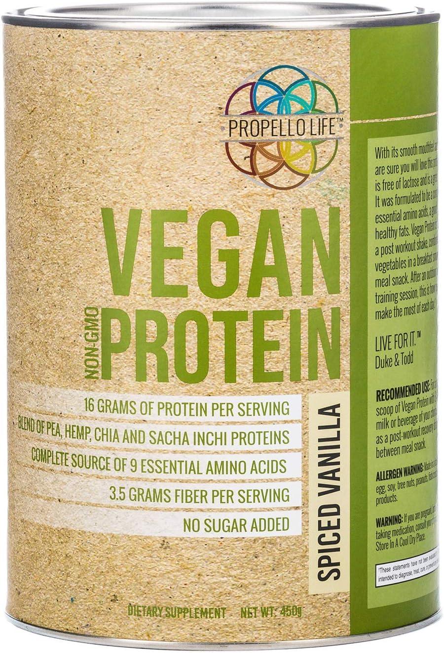 Propello Life Vegan Protein Powder, Spiced Vanilla, 450g