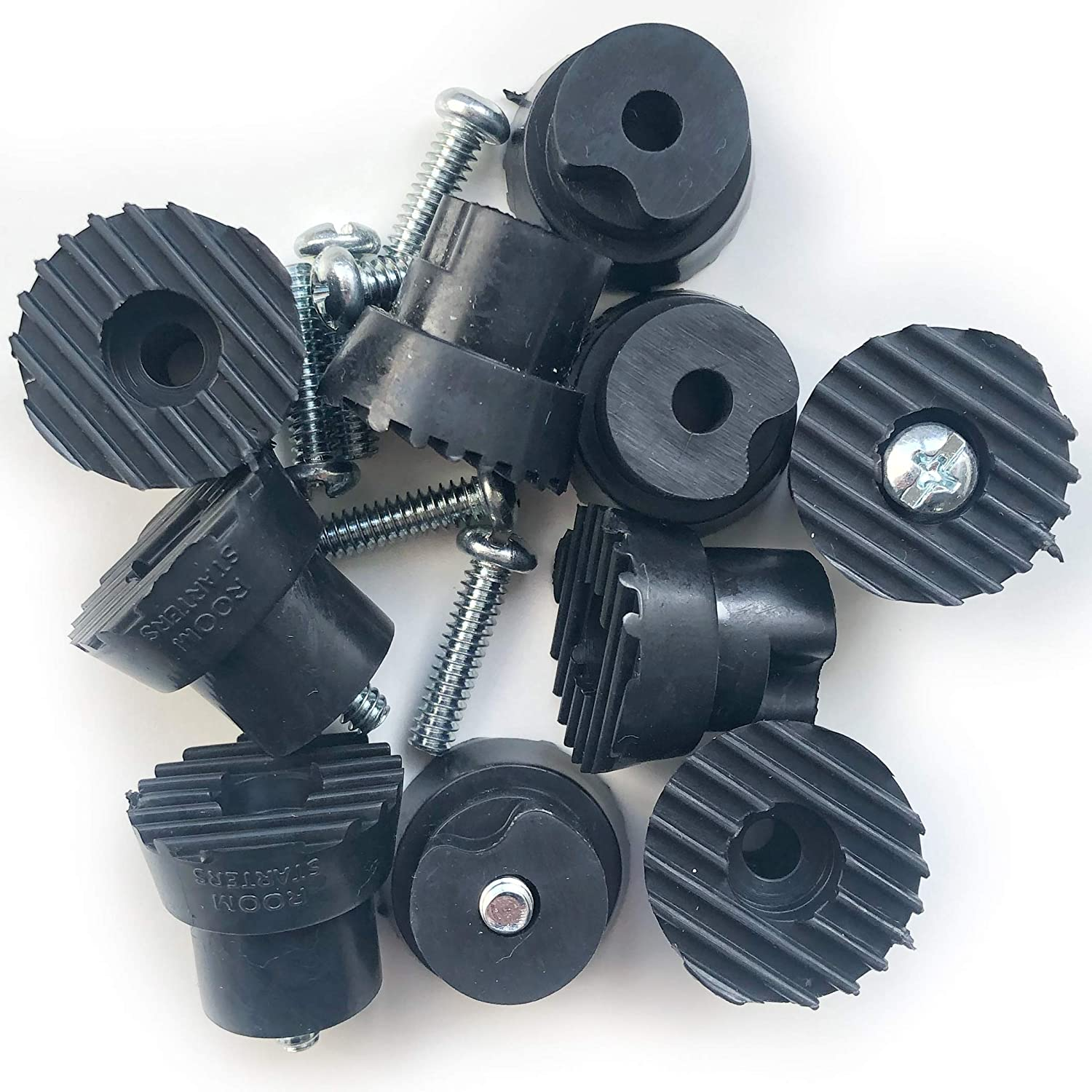 Black, 10 Pack Kick Down Door Stop Ultra Grip Rubber Replacement Tip 10 Pack with Screw by ROOM STARTERS Style 2