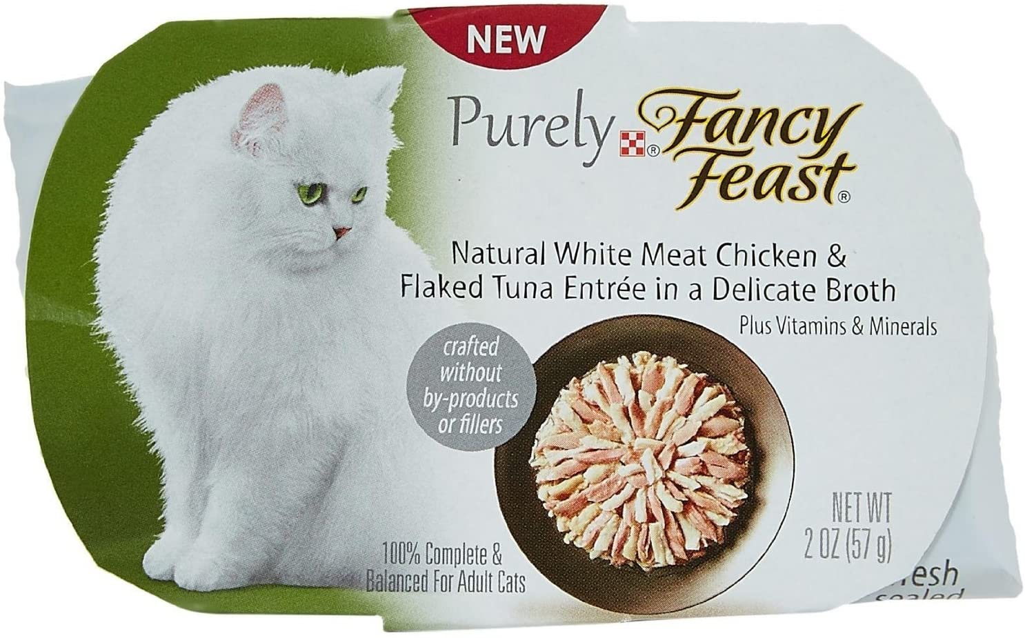 Pack of 10, 2 OZ, Natural White Meat Chicken and Flaked Tuna Cat Food