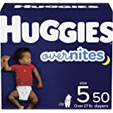 Diapers Size 5 - Huggies Overnites Night Time Disposable Diapers, 50ct, Giga Pack