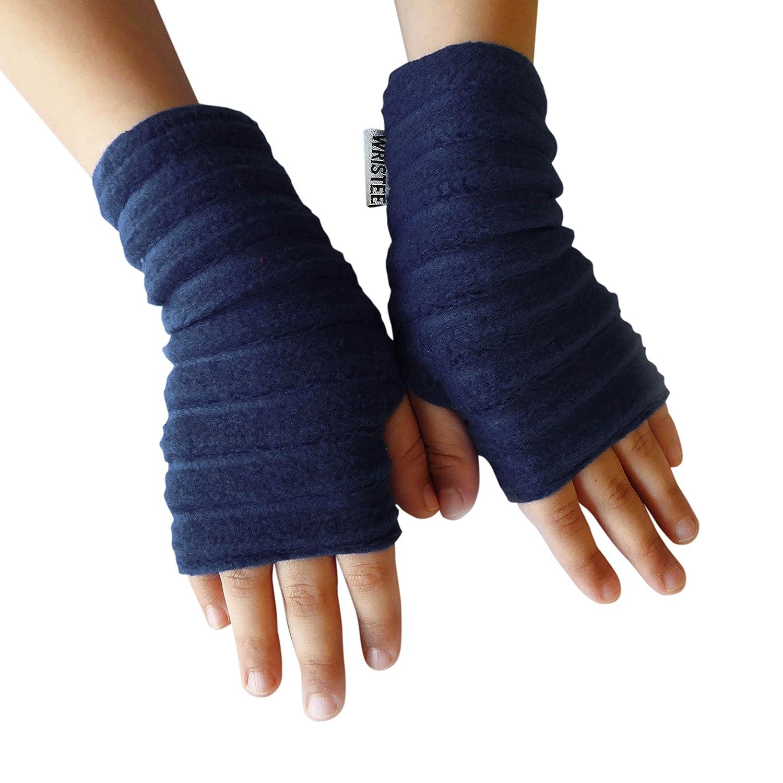 Wristee®, Kids Unisex fingerless gloves & wrist warmers for Girls & Boys (Infant, Navy)