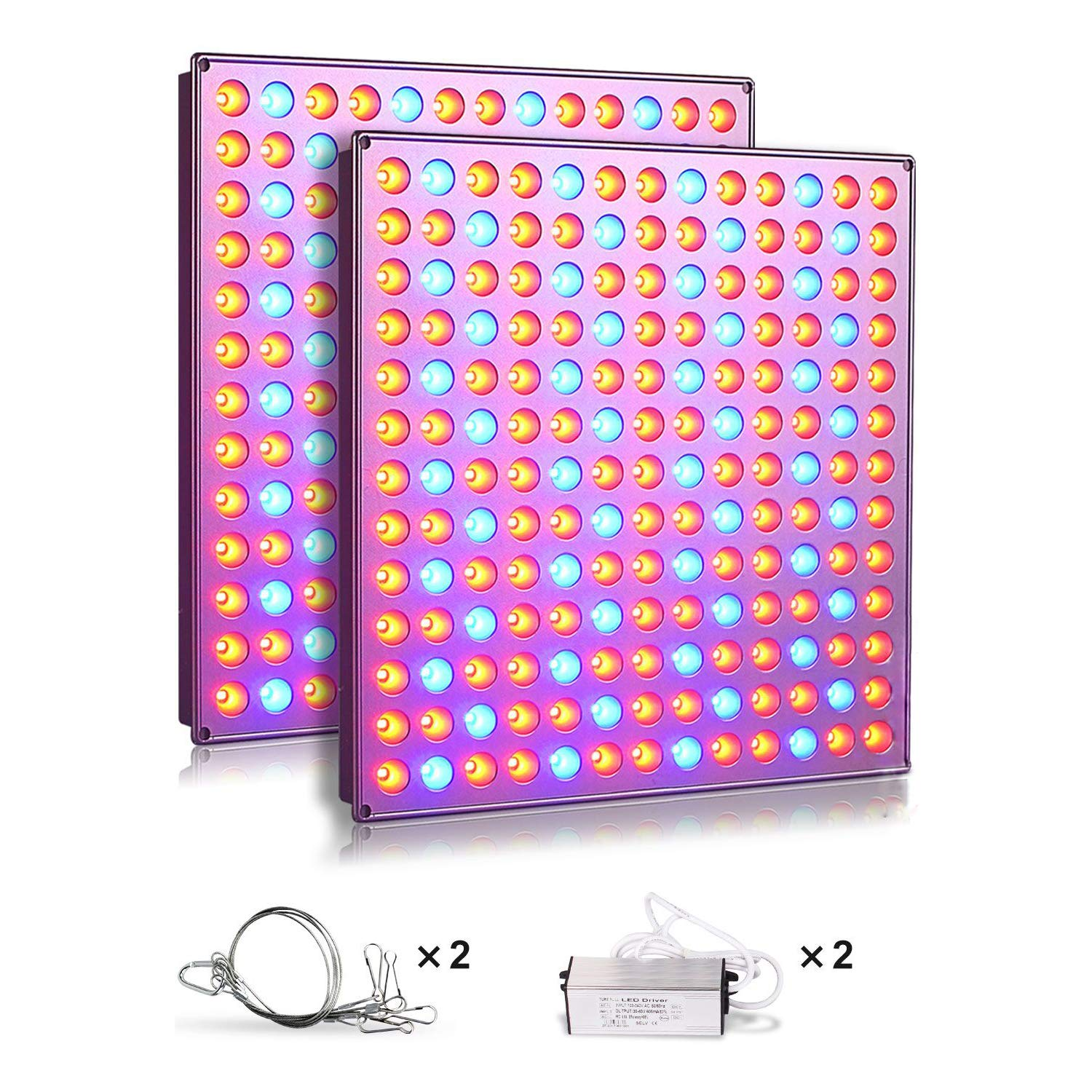 Roleadro LED Grow Lights for Indoor Plants, 75w Plant Lights with Red & Blue Spectrum Grow Lamp for Hydroponic, Seedling, Succulents, Veg and Flower (2 Packs) by Roleadro