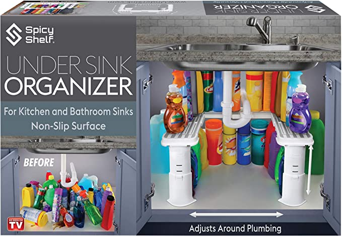 Expandable Under Sink Organizer and Storage | Bathroom Under the Sink Organizer Kitchen Under Sink Shelf | Cleaning Supplies Organizer Under Sink Storage | EXPANDABLE HEIGHT DEPTH & WIDTH best kitchen sink organizer