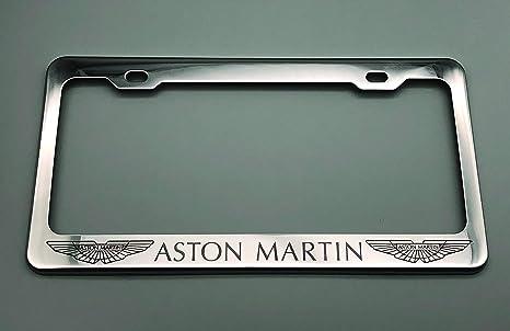 New Stainless Steel Chrome Aston Martin Logo License Plate Frame W//Bolt Caps