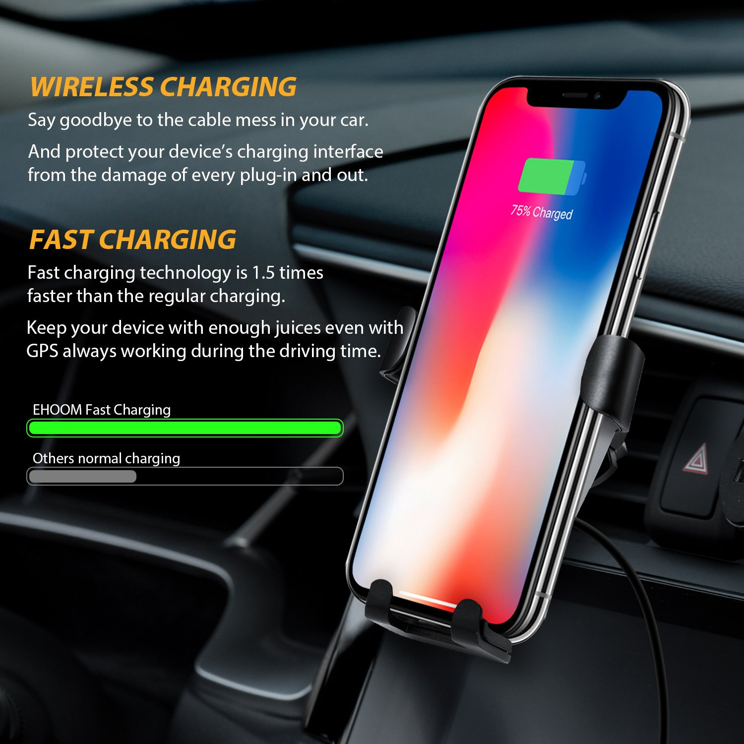 iPhone X S8 Note 8 Samsung Galaxy S9 Compatible with Qi-Enabled Devices Note 5 S8+ 8 Plus Car Charger Included EHOOM Official 4351482886 EHOOM Air Vent Phone Holder for iPhone 8 S9+ Car Wireless Charger S7 Edge