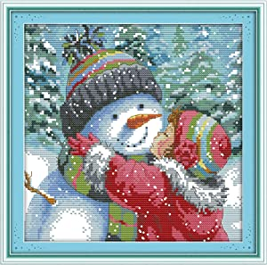 Printed Cross Stitch Kits 11CT Full Range DIY Embroidery Starter Kits Easy Patterns Embroidery for Girls Crafts DMC Cotton Stamped Cross-Kiss The Snowman 13.7x13.7 inch